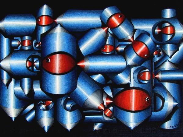 Cara Michele, La società dei pesci, Pennarello e matite su carta, cm 73x51
