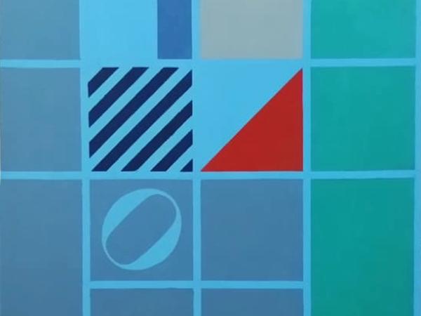 Ermanno Leinardi, Dalla parte del vento celeste più verde, 1984, olio su tela, cm. 80x80