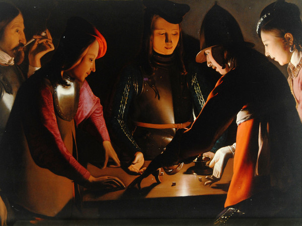 Georges de La Tour<em>, I giocatori di dadi</em><em>,</em>1651 ca. Olio su tela, 95,5 x 130,5 cm. Preston Park Museum and Grounds Stockton-on-Tees, Regno Unito<br />