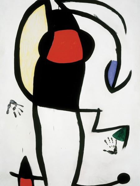 Joan Miró, Femme dans la rue, 1973, olio, guazzo e acrilico su tela, 195x130 cm