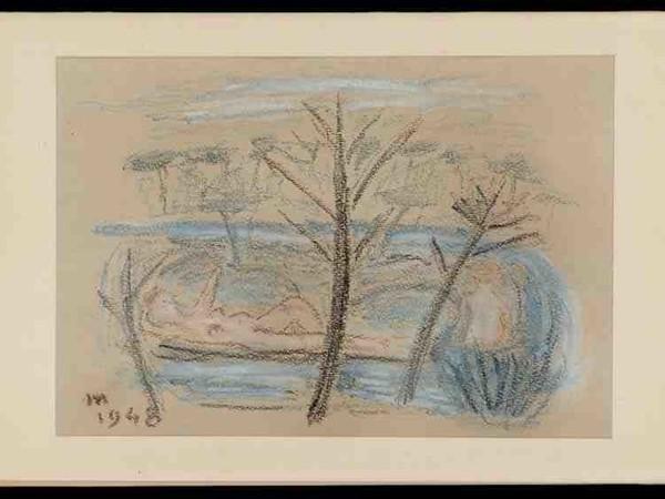Eugenio Montale, Bozzetto Apres midi, pastello su cartoncino grigio, 1948, 25,5x17cm.