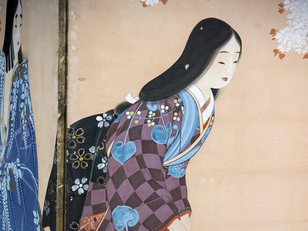 Beltà femminili (Particolare), Paravento a 6 ante dipinto a inchiostro e colori su carta, 173 x 372 cm, Periodo Taisho (1912-1926)