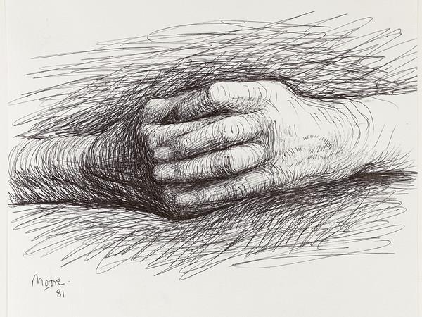 Henry Moore, The Artist's Hands, 1981. HMF 81(135) conté crayon, ballpoint pen I Ph. Nigel Moore, Menor