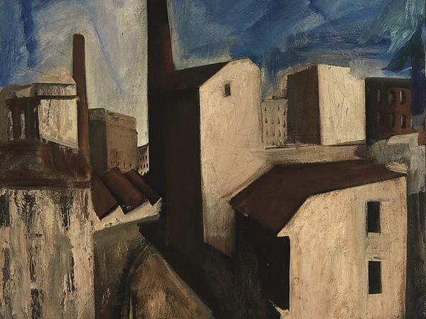 Mario Sironi,<em> Paesaggio urbano</em>, 1927 ca.<em><strong>,</strong></em>olio su carta intelata, 52 x 54,5 cm. Collezione privata<br />