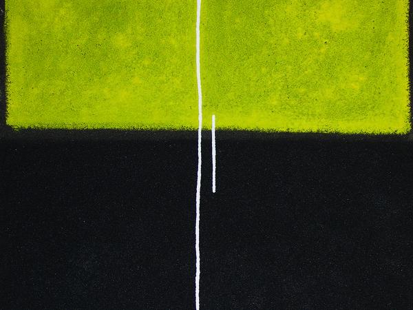 Bruno Biondi, Concetti verticali giallo, 120x120 cm., materia sabbia e acrilico su tela, 2017