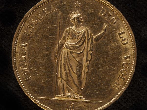 """Governo Provvisorio della Lombardia, 40 lire oro, 1848; dritto con il motto """"Italia libera Dio lo vuole"""". Collezione privata"""