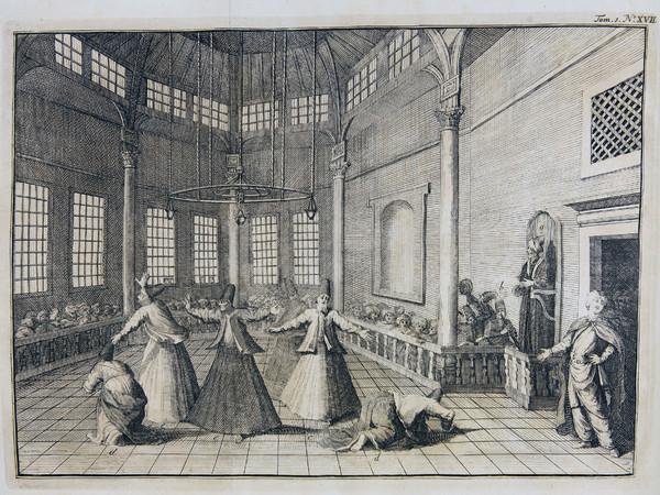 """Dervisci danzanti, da """"Voyages du sr. A. de La Motraye, en Europe, Asie & Afrique. Ou l'on trouue une grande variete de recherches geographiques ..."""". Modena, Biblioteca Estense Universitaria"""