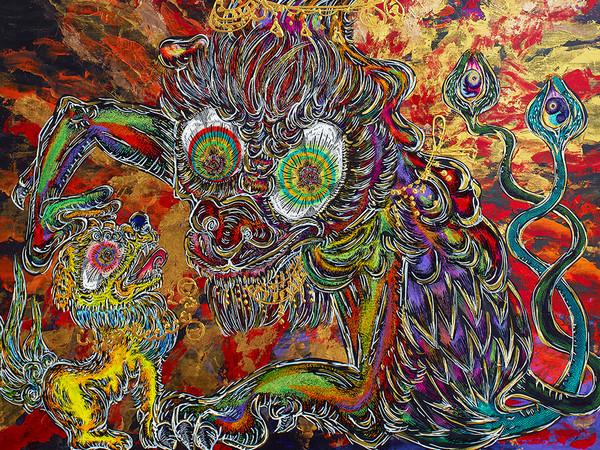 Miwa Komatsu, <em>Pray for Prosperity</em>, 2016, Acrilico su tela, 130 x 162 cm | Courtesy of Miwa Komatsu e Karuizawa New Art Museum Venice Branch