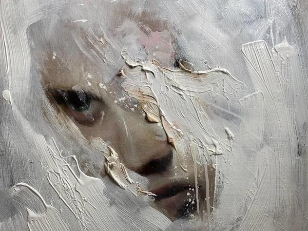 Giuliano Macca, Angelo, 2020, olio su tela, 80x60 cm.