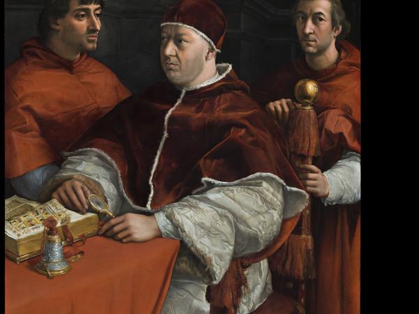 Santi Raffaello, detto Raffaello Sanzio, Ritratto di Leone X con i cardinali Luigi de' Rossi e Giulio de' Medici, olio su tavola. Gallerie degli Uffizi, Galleria Palatina ed Appartamenti Reali Inv. 40, Palatina (1912)