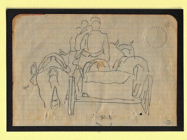Giò Fattori, Studio per militari e carriaggi in sosta, disegno su carta quadrettata, 1880-82, mm. 92X135