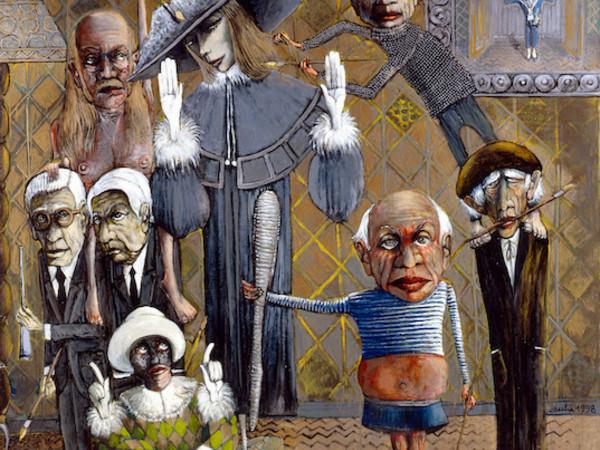 Sergio Vacchi,<em>La tribù di Greta Garbo. Dibattito intorno alla bellezza</em><span>, 1998, smalto su tela, cm 218 x 200,Collezione privata</span>