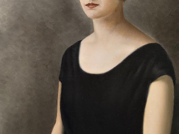Francesco Trombadori, Ritratto di signora in nero, olio su tela, anni Venti