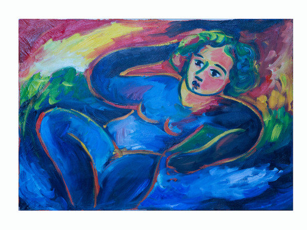 Mimmo Germanà, Donna blu, 1989, olio su tela, 50x70 cm.