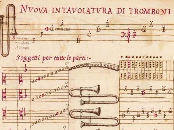 Il Dolcimelo d'Aurelio Virgiliano: doue si contengono uariati Passaggi, e Diminutioni cosi per uoci, come per tutte sorte d'instrumenti musicali; con loro accordi, e modi di sonare ms, segnatura C. 33. Museo internazionale e biblioteca della Musica