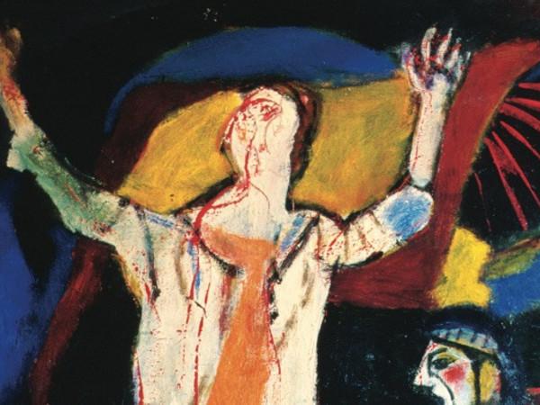 Guido Pajetta, Resurrezione, 1986, (part.),acrilico su tela, 180 x 120 cm. Collezione privata, Brescia