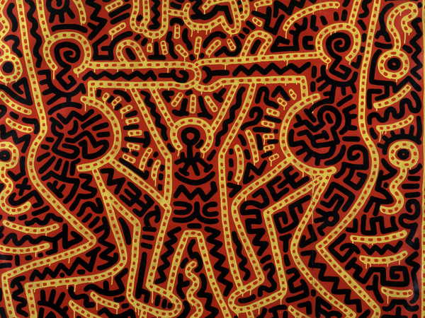 <span>Keith Haring, <em>Untitled</em>, 1983 Inchiostro vinilico su telone di vinile 213,4 x 213,4 cm. Courtesy Laurent Strouk &copy; Keith Haring Foundation</span>