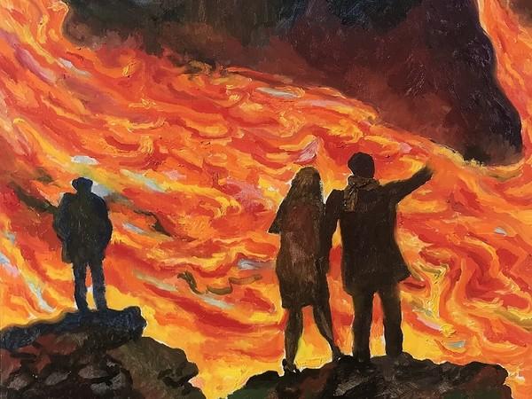 Renato Guttuso, Tre persone che guardano l'eruzione dell'Etna, 1983, olio su tela, cm. 55 x 65