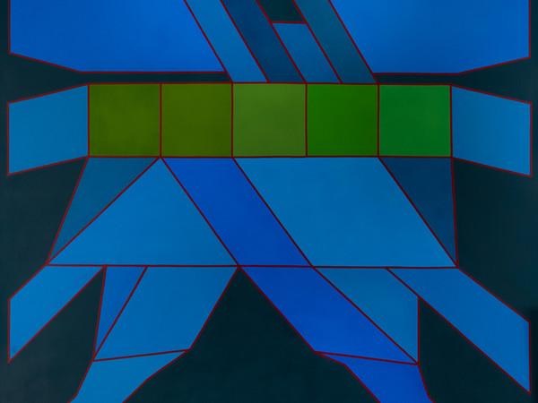 Achille Perilli, L'alba del tramonto, 2009, tecnica mista su tela, 150 x 150 cm.