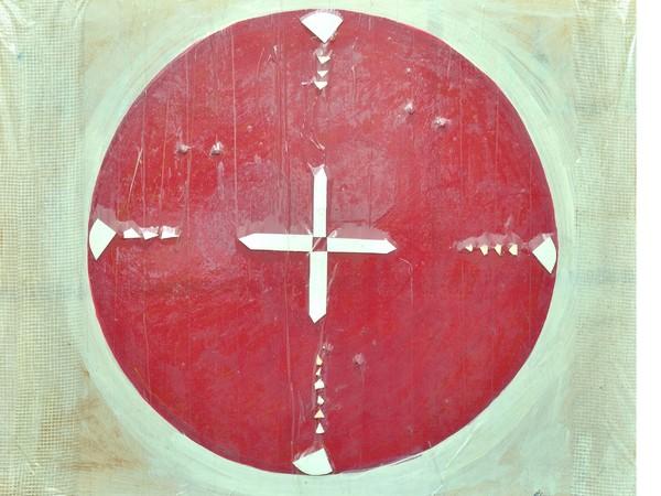 Lorenzo Polimeno, From to, 2013, tecnica mista su legno con adesivi, cm. 40x50