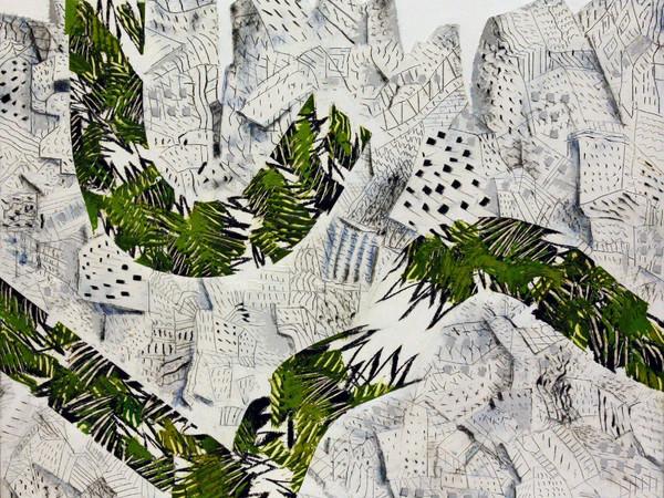Tullio Pericoli, Ritornano le foreste 2017, olio su intonaco telato, cm. 55x55