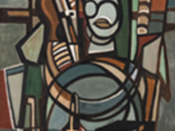 Lygia Clark, Violoncellista (O Violoncelista), 1951, olio su tela, 105,5 x 81 cm. Collezione privata