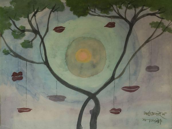 Kartick Chandra Pyne, L'albero delle bocche, Acquerello su carta velina, cm. 48x61