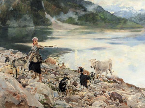 Ettore Tito, Il lago di Alleghe, olio su tela, 140x200 cm.