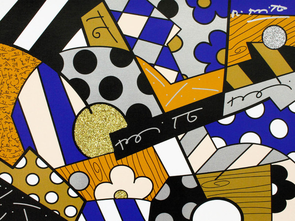 Romero Britto, The Blues_2017, serigrafia su tela con polvere di diamante, cm. 46x61