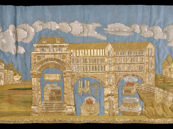 Mappà Ambron 1795-1796, raso ricamato e raso, taffetas, velo, ricamati a riporto, Museo Ebraico di Roma