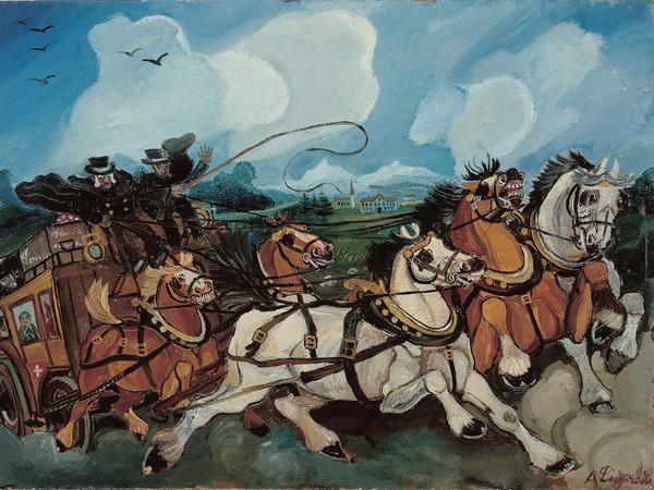Antonio Ligabue, Diligenza con paesaggio e villa di Casanova Rambelli, olio su tavola di faesite, 1953-1954, 68x95 cm<br />