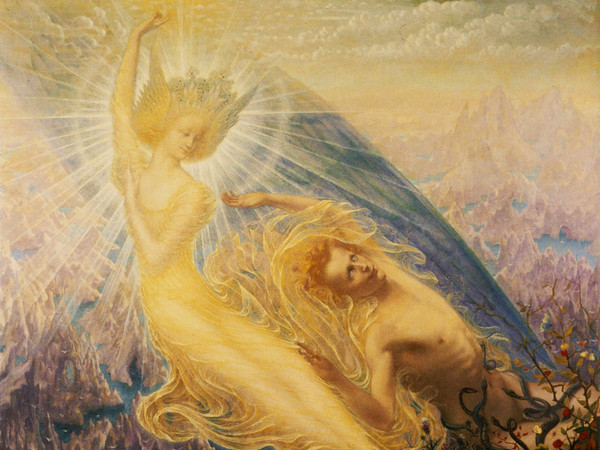 <span>Jean Delville,&nbsp;</span><em>The Angel of Splendors</em><span>&nbsp;(</span><em>L&rsquo;Ange des splendeurs</em><span>), 1894, Olio su tela, 146 <span>x 127 </span>cm, R&eacute;gion de Bruxelles-Capitale, en pr&ecirc;t &agrave; long terme aux Mus&eacute;es royaux des Beaux-Arts de Belgique 2017 Artists Rights Society (ARS), New York / SABAM, Brussels | Photo &copy; Royal Museums of Fine Arts of Belgium, Brussels J. Geleyns - Ro scan<br /></span>