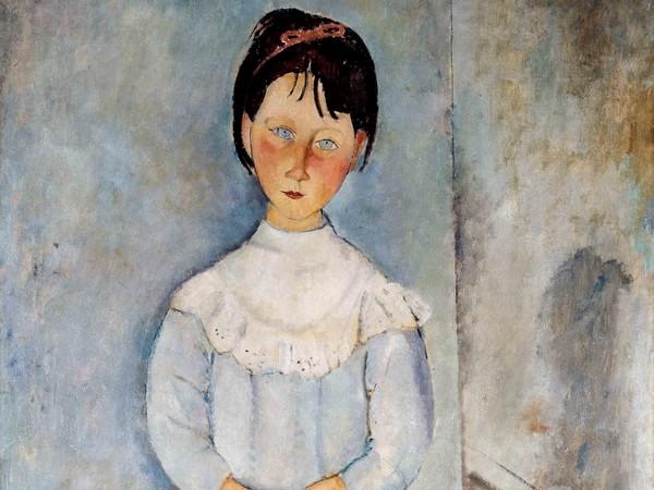 Amedeo Modigliani, <em>Fillette en bleu</em>, 1918, Olio su tela, 116x73cm, Collezione Jonas Netter