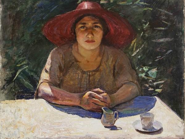 Ottorino Davoli, Al Sole, olio su tela, cm. 61x74