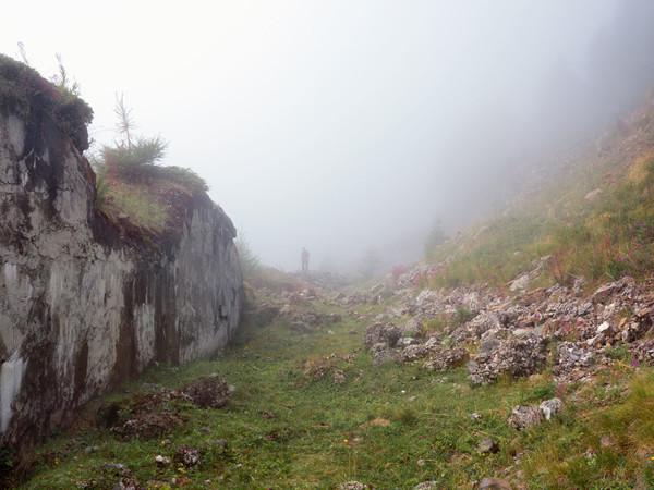Felice Longhi sui resti di Forte Zaccarana, Val Di Sole