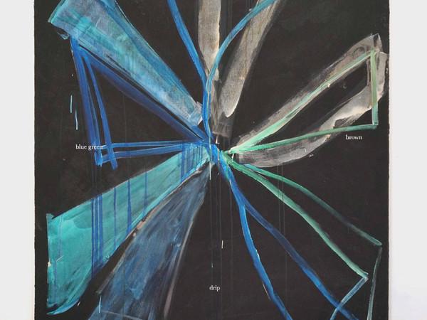 Henry Chapman, Blue green blue drip, 2020, acrilico e inchiostro su tela, cm. 180x140