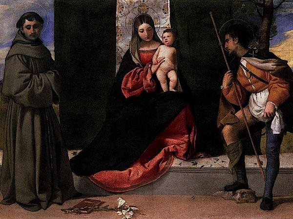 Tiziano, Madonna col Bambino tra i santi Antonio da Padova e Rocco. Olio su tela, 92&times;133 cm., 1510 ca.&nbsp;<span>Madrid, Museo del Prado</span>