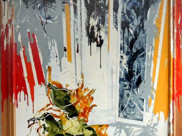 Mario Schifano, Pittore che si affaccia, 1979, olio e smalto su tela e legno, cm. 193x172