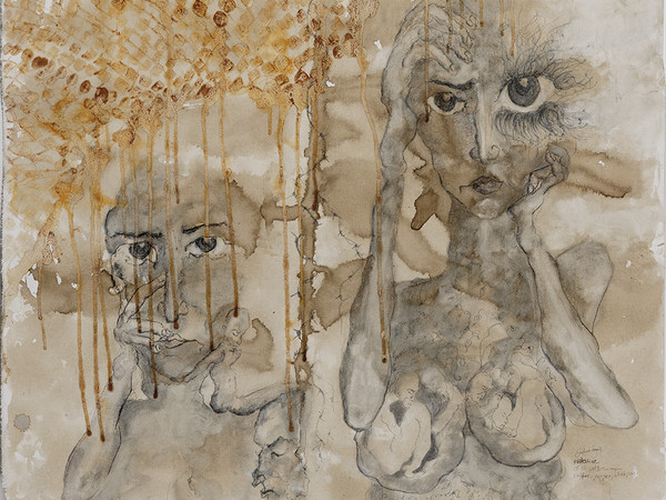 Zehra Doğan, Palestina, 8 giugno 2019, Londra, Miscele naturali su tela, 92 x 97 cm | Foto: Jef Rabillon