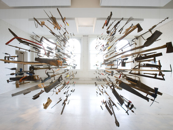 Damián Ortega, Controller of the Universe, 2007. Found tools and wires. Variable dimensions Courtesy of the artist, White Cube, London and P.S.1. Contemporary Art Center, 2008.