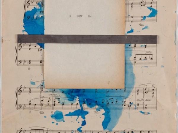 Alfredo Rapetti Mogol, Io e te, 2018. Piombo e inchiostro su spartito musicale, cm. 32x23,5