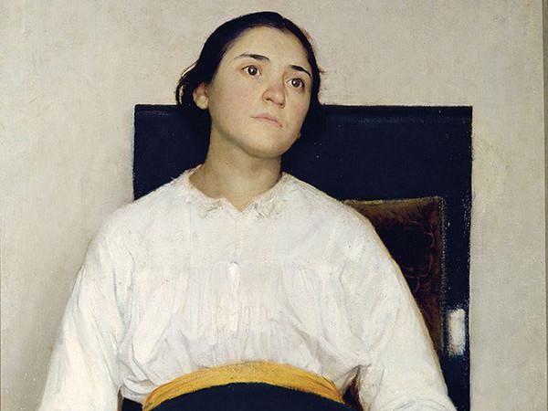 Giuseppe Pellizza da Volpedo, Ricordo di un dolore (Ritratto di Santina Negri), 1889. Olio su tela, cm. 106 x 79,5. Bergamo, Accademia Carrara