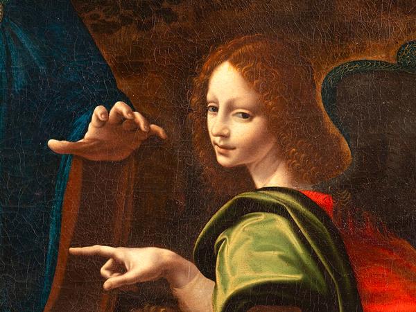 Francesco Melzi (attribuito), Madonna col Bambino, san Giovannino e un angelo (Vergine delle Rocce del Borghetto), 1517-1520 (dettaglio)