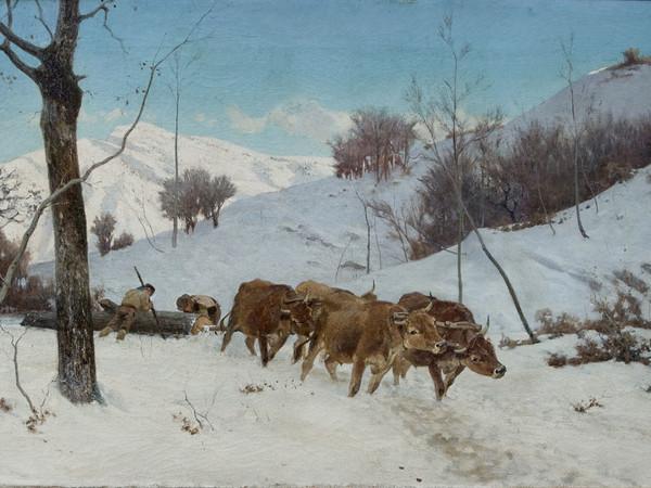 Stefano Bruzzi, Faticando insieme, 1880 circa. Olio su tela, 55 x 99 cm