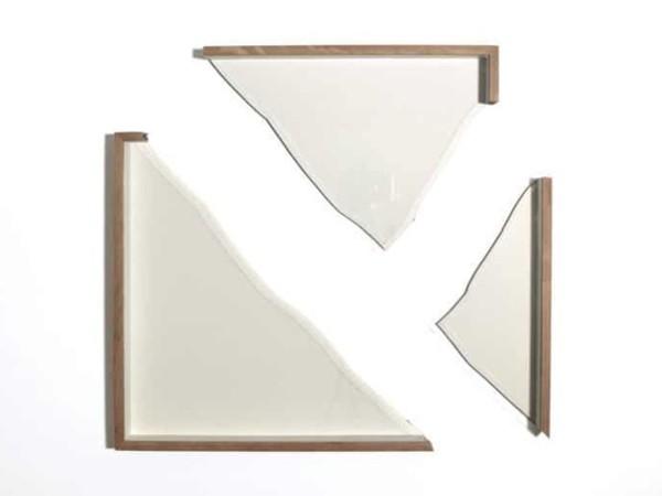 Pierre-Etienne Morelle, Cracked, 2019. Glass, oak, peterboro, matboard, iron