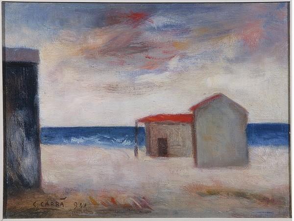 <span>Carlo Carrà, <em>Capanni al mare</em>, 1941, olio su tela. Musei Civici Fiorentini, Collezioni del Novecento, Raccolta Alberto Della Ragione</span>
