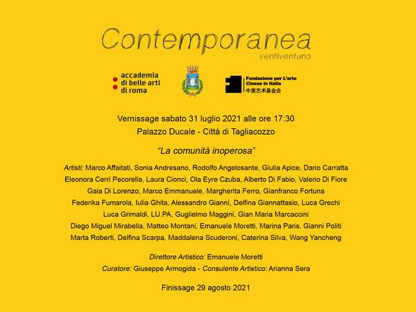 Contemporanea Ventiventuno - La comunità inoperosa, Palazzo Ducale, Tagliacozzo