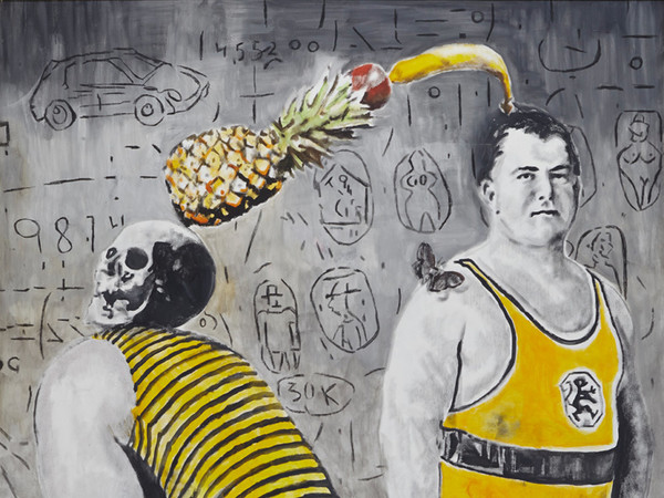 Andrea Saltini, <em>SE MI TIRI GIÙ NON RIUSCIRÒ</em>, 2017, Tecnica mista su tela, 180 x 220 cm | Courtesy of Andrea Saltini e Fondazione Maimeri<br />