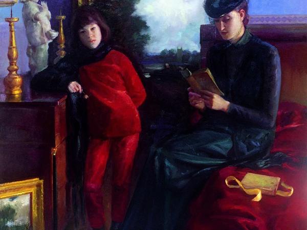 Luciano Regoli, L'attesa, 1998, olio su tela, 150x140 cm.