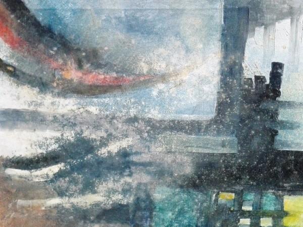 Francesco Sandrelli, Castello nella nebbia, olio su tela, 30x40 cm.